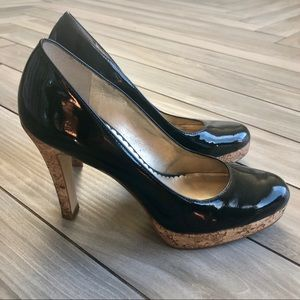 Black Patent Cork Heel Bruges Jessica Simpson Barb